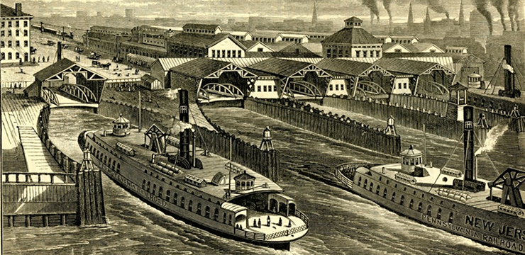Birds-eye view of Jersey City, New York ferries, and Pennsylvania Railroad Station